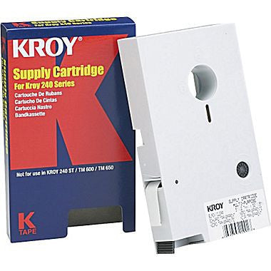"Kroy 1/2"" Black on White Tape 50ft. - 2227516"