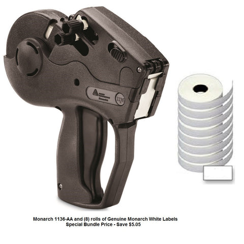 "Monarch 1136-AA Label Gun ""Alpha/Numeric Top & Alpha Bottom"" - INCLUDES (8) ROLLS OF WHITE LABELS"