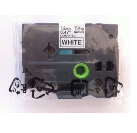 "Non-Retail Pack: Brother TZe231 1/2"" Black on White Tape"