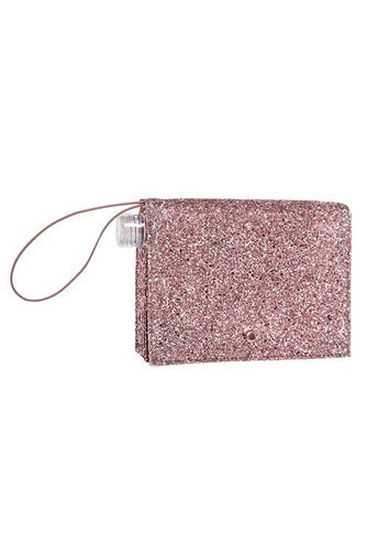 16oz Rose Gold Glitter Flask Clutch - BluePeppermint Boutique