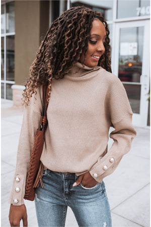 Khaki Pearl Wrist Turtleneck - BluePeppermint Boutique
