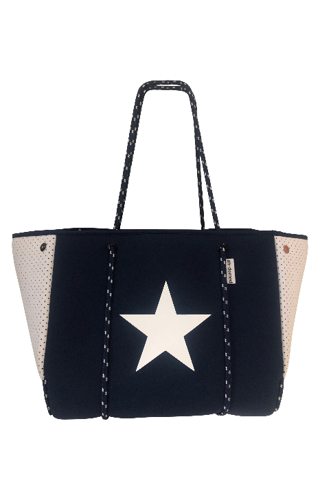 Navy Neoprene Tote w/White Star - BluePeppermint Boutique