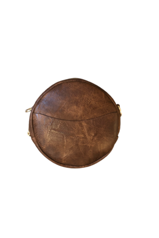 Ah-dorned Small Round Vegan Leather Messenger-Coffee - BluePeppermint Boutique