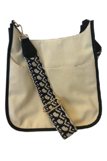 Ah-dorned Piped Canvas Messenger-Black - BluePeppermint Boutique