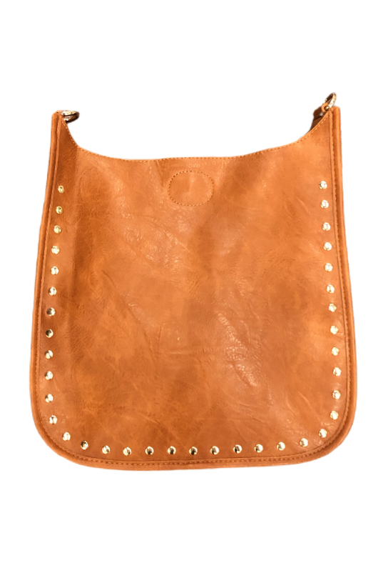 Classic Faux Leather Messenger w/Studs-NO STRAP ATTACHED! - BluePeppermint Boutique