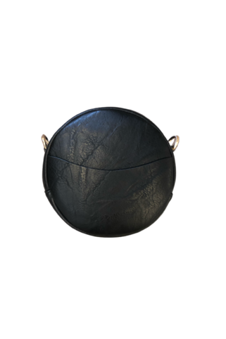 Small Round Vegan Leather Messenger - BluePeppermint Boutique