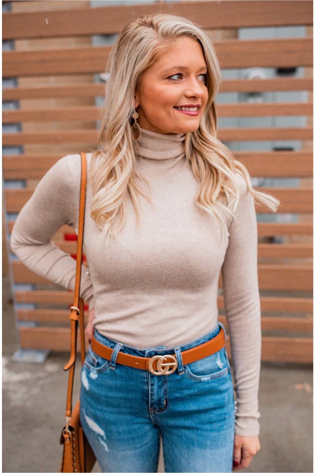 Pearl Wrist Turtleneck Top - Oatmeal - BluePeppermint Boutique