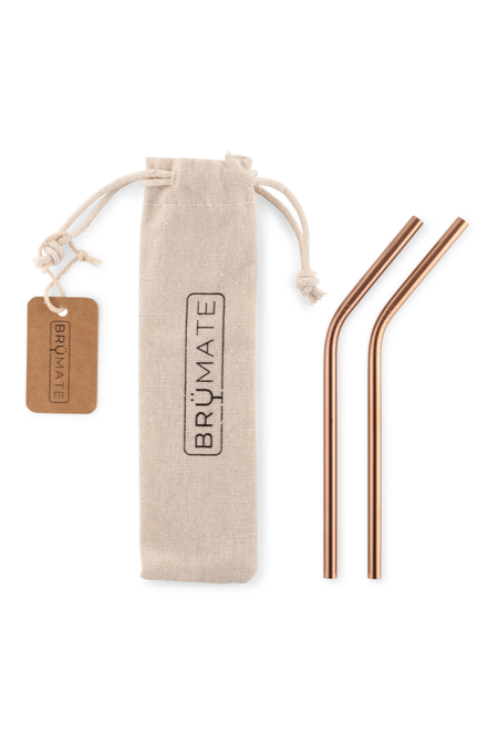 BruMate Stainless Steel Reusable Wine Straws-Rose Gold - BluePeppermint Boutique