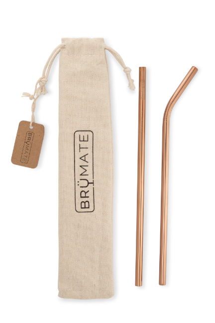 BruMate Stainless Steel Reusable Imperial Print Straws-Rose Gold - BluePeppermint Boutique