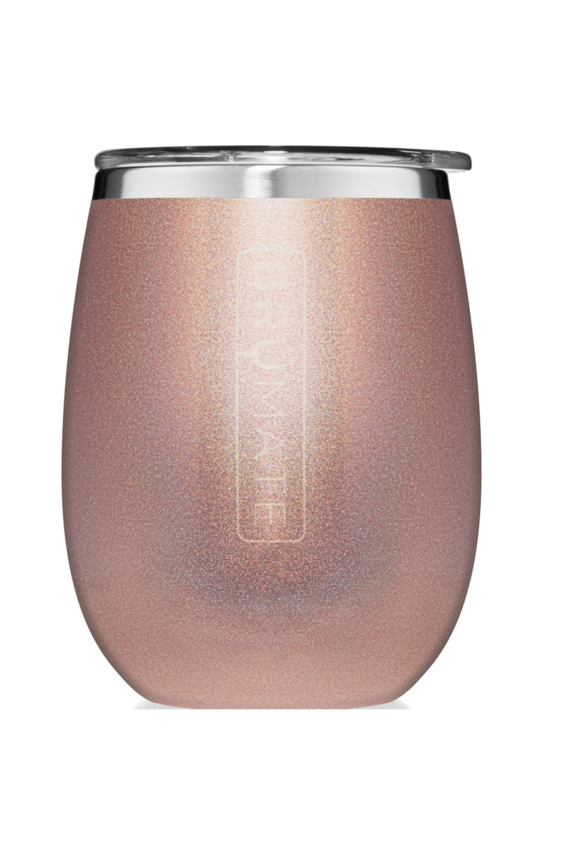 BruMate Uncork'd XL 14oz Wine Tumbler-Glitter Rose Gold - BluePeppermint Boutique