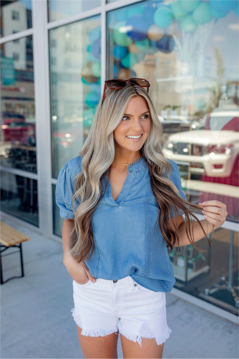 Lace Chambray Top - BluePeppermint Boutique
