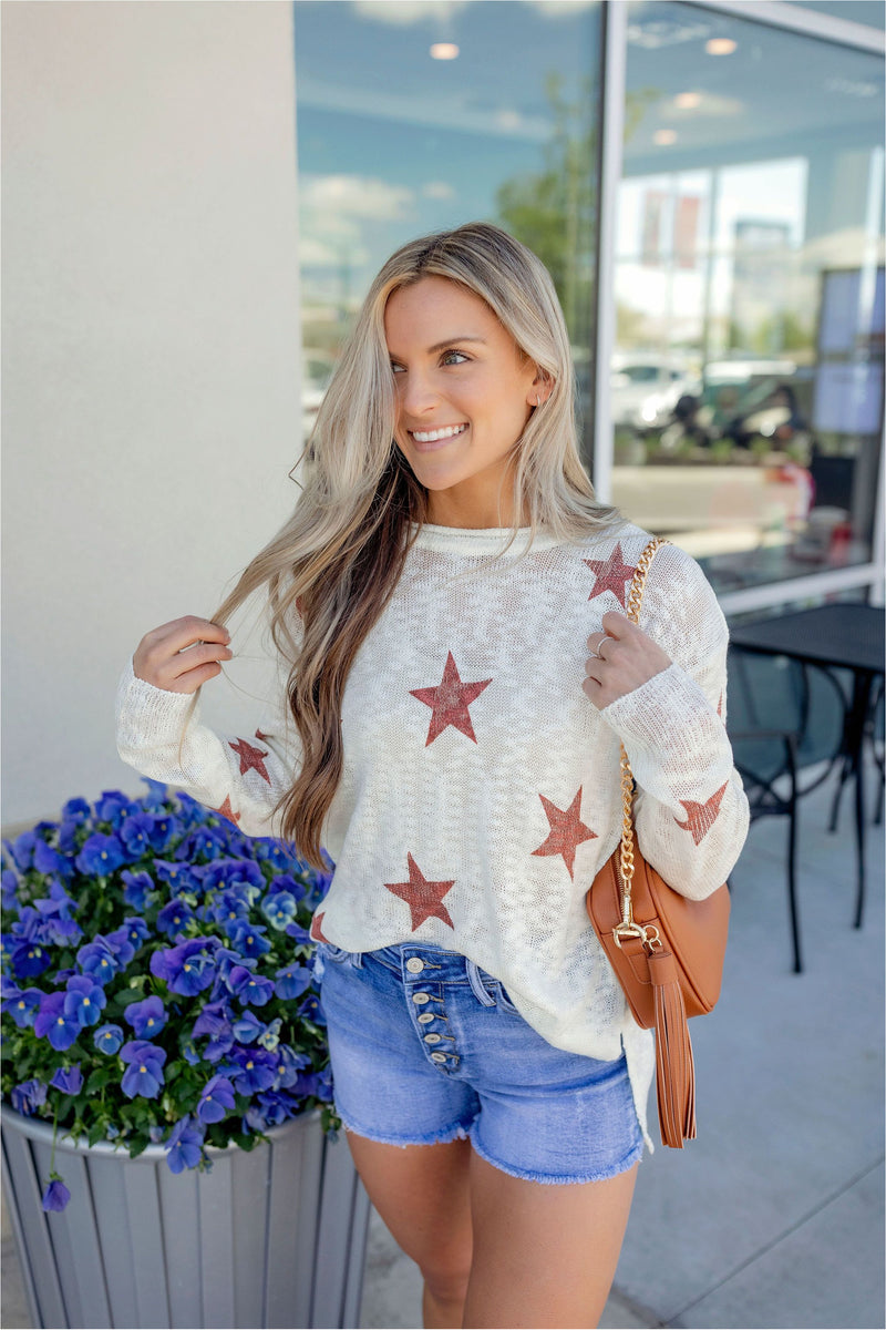 Star Printed Light Sweater - BluePeppermint Boutique
