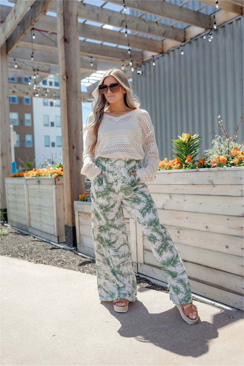 Palm High Waist Palazzo Pant - BluePeppermint Boutique