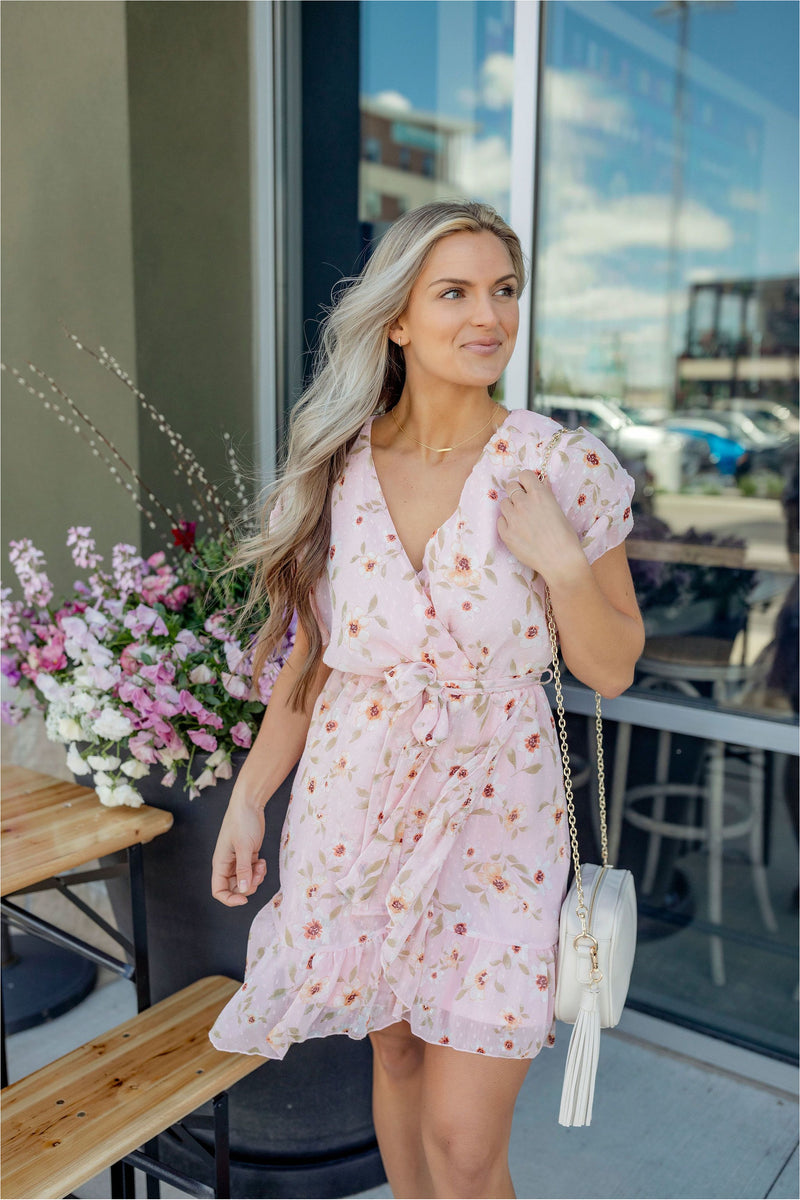 Pink Floral Surplice Ruffle Dress - BluePeppermint Boutique
