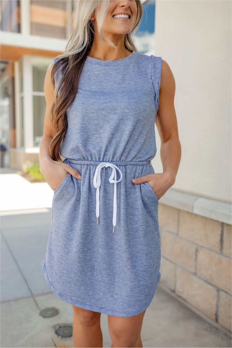 Sleeveless Drawstring Casual Mini Dress - BluePeppermint Boutique