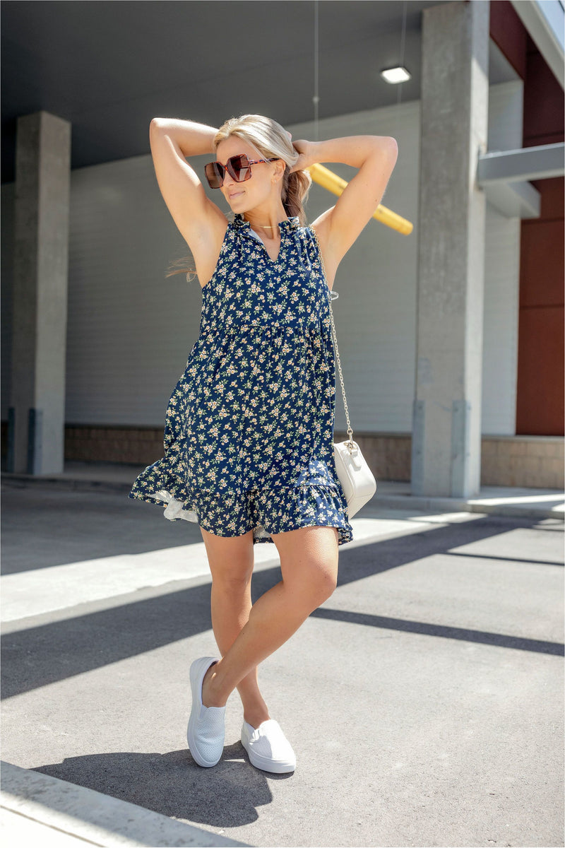 V-Neck Jersey Knit Floral Dress - BluePeppermint Boutique