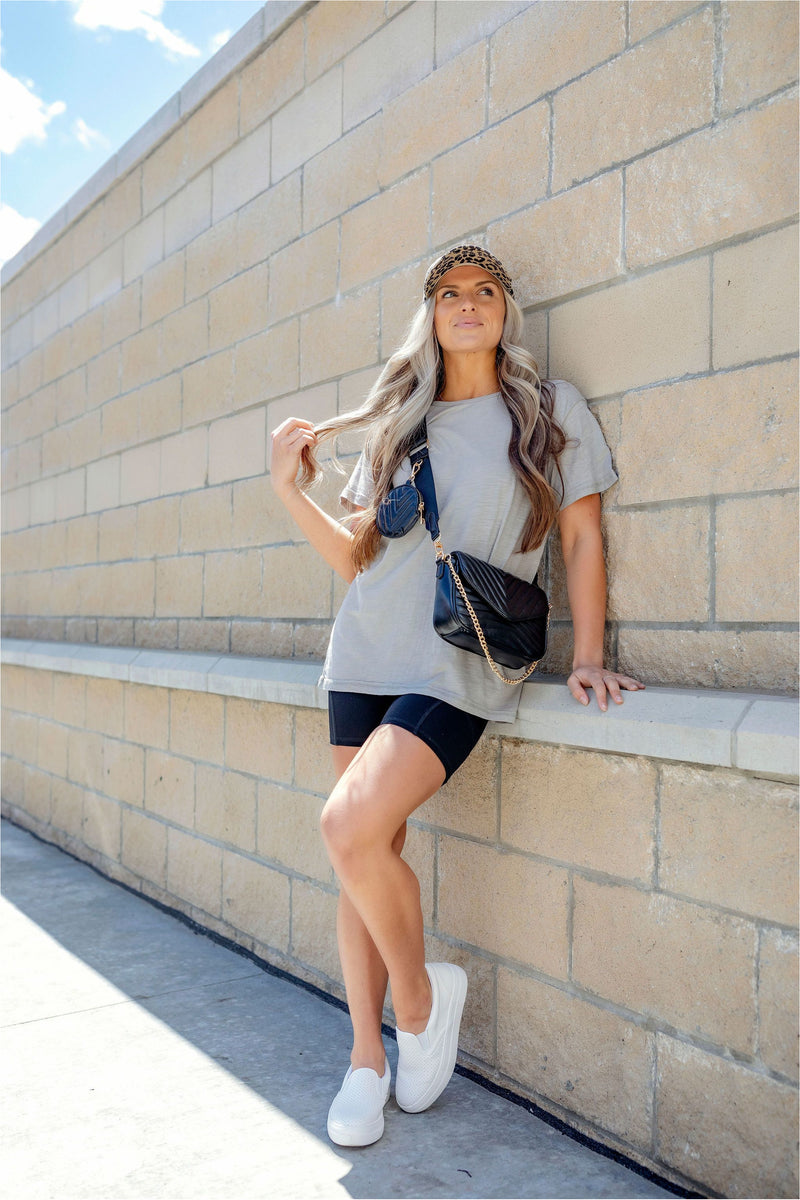 Essential Round Neck Athleisure Tee - Heather Grey - BluePeppermint Boutique