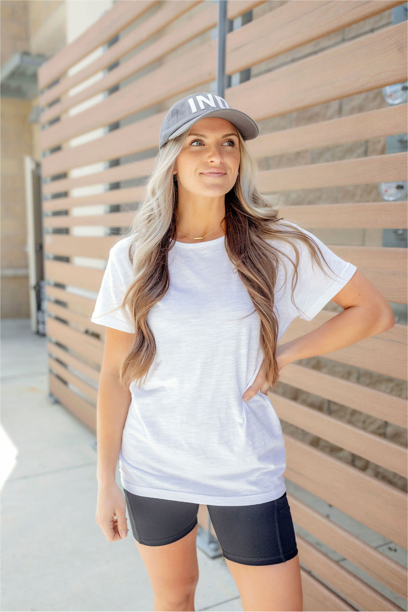 Essential Round Neck Athleisure Tee - White - BluePeppermint Boutique