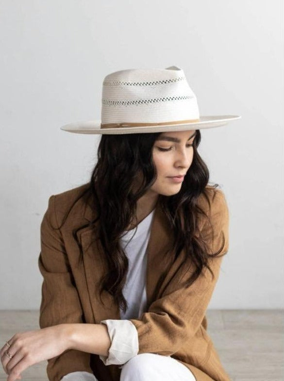 Gigi Pip Arlo Tan Band-Straw Teardrop Fedora - BluePeppermint Boutique