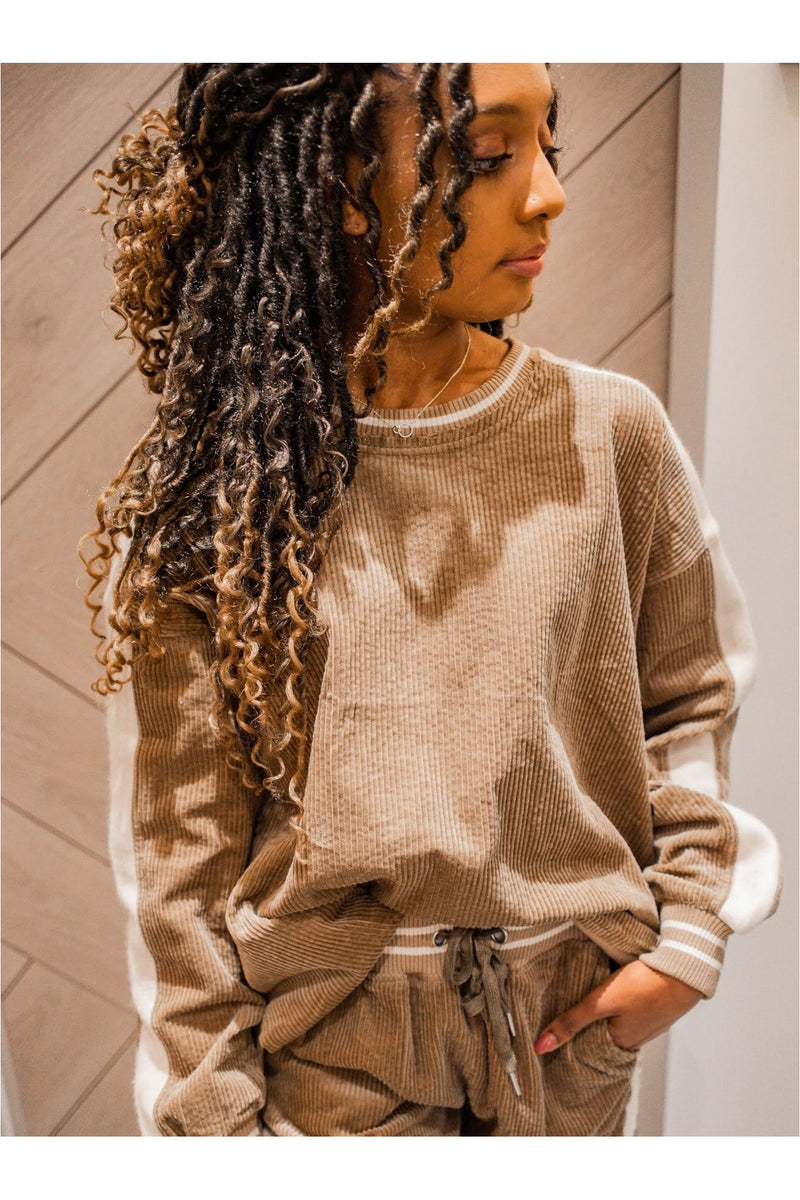 Khaki Corduroy Athletic Ribbed Sweatshirt-FINAL SALE - BluePeppermint Boutique