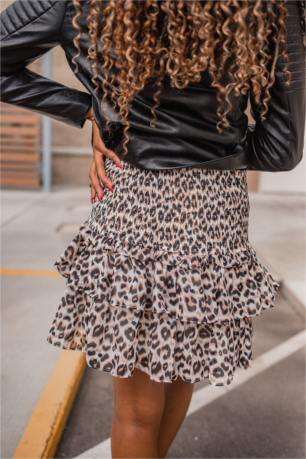 Leopard Smocked Mini Skirt - BluePeppermint Boutique
