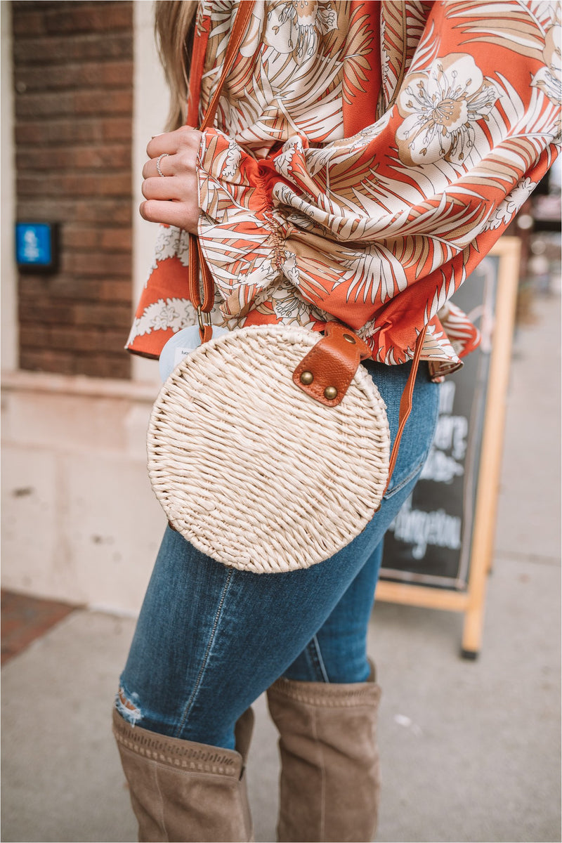 Ivory Straw Circular Bag - BluePeppermint Boutique