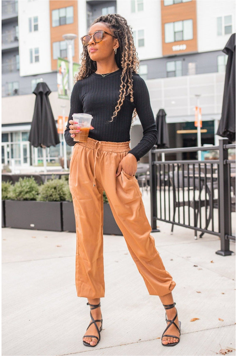 Satin Tie Joggers - Camel - BluePeppermint Boutique