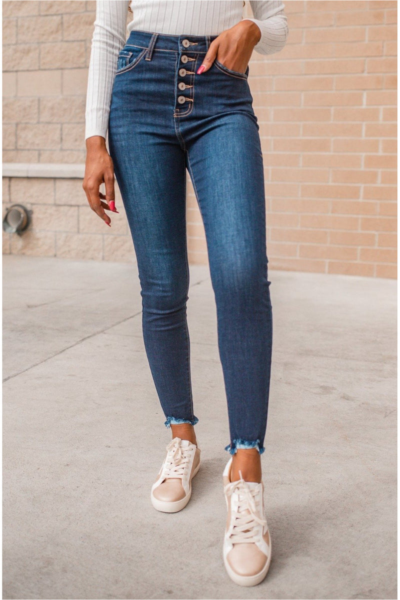Bee Super High Rise Button Fly Skinny Jeans - BluePeppermint Boutique