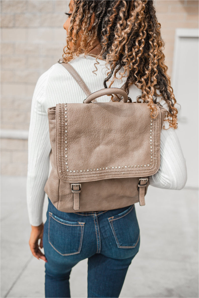 Studded Buckle Backpack - BluePeppermint Boutique