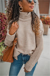Sand Ribbed and Cable Knit Turtleneck - BluePeppermint Boutique