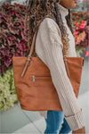 Thin Strap Tassel Tote - BluePeppermint Boutique
