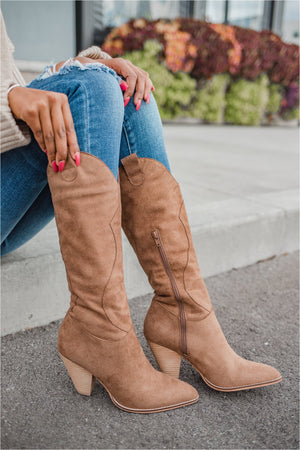 Camel Western Suede Boot - BluePeppermint Boutique