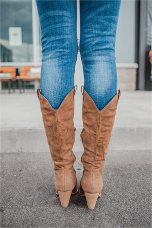 Camel Western Suede Boot - FINAL SALE - BluePeppermint Boutique