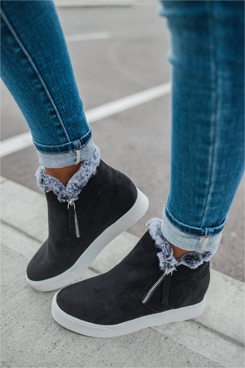 High Top Fur Sneakers - Black - BluePeppermint Boutique