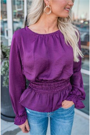 Satin Smocked Peplum Blouse - Plum - BluePeppermint Boutique