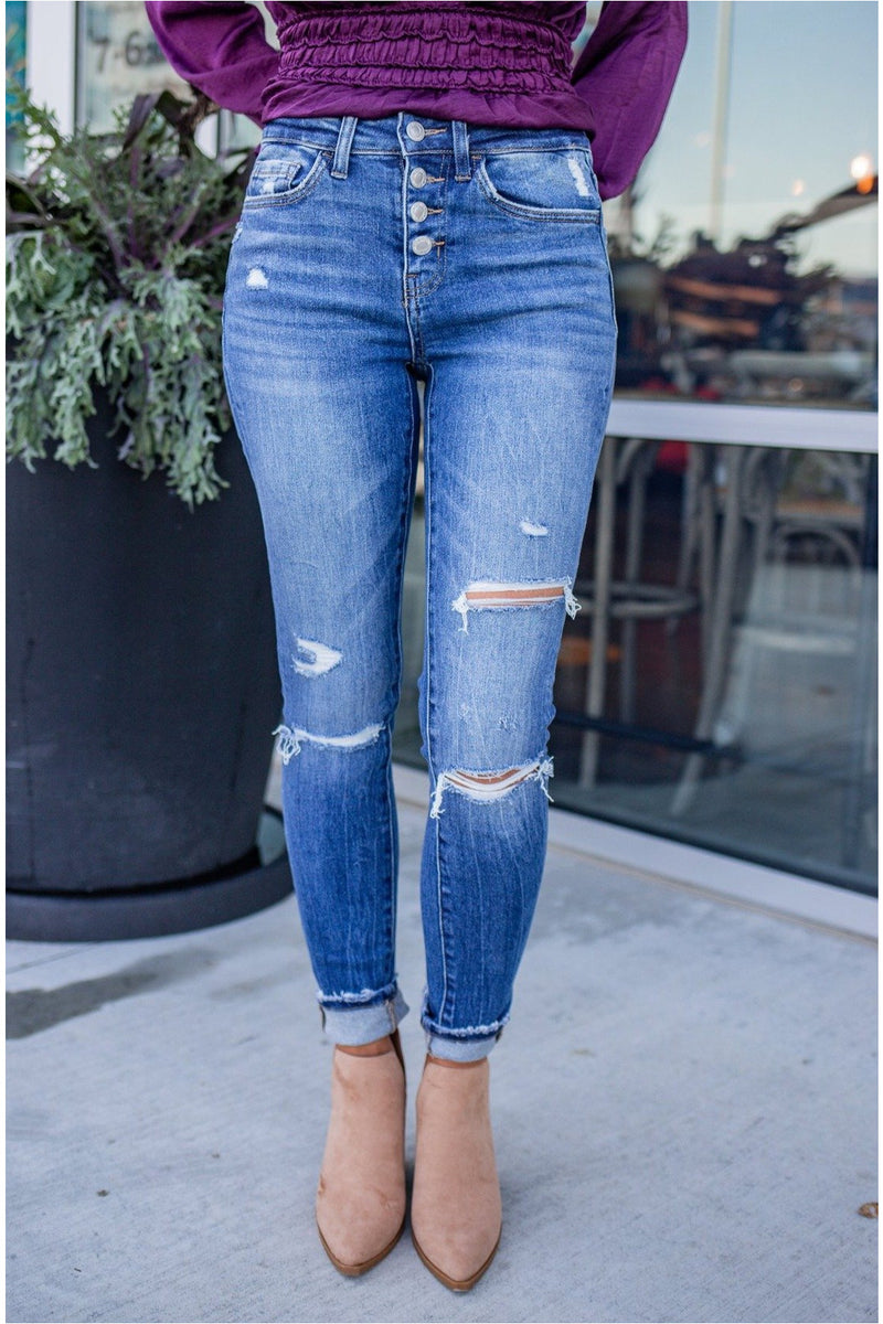 Amber Mid Rise Button Fly Skinny Jean - BluePeppermint Boutique