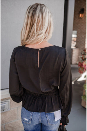 Satin Smocked Peplum Blouse - Black - BluePeppermint Boutique