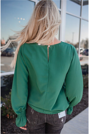 Emerald Smocked Sleeve Blouse - BluePeppermint Boutique