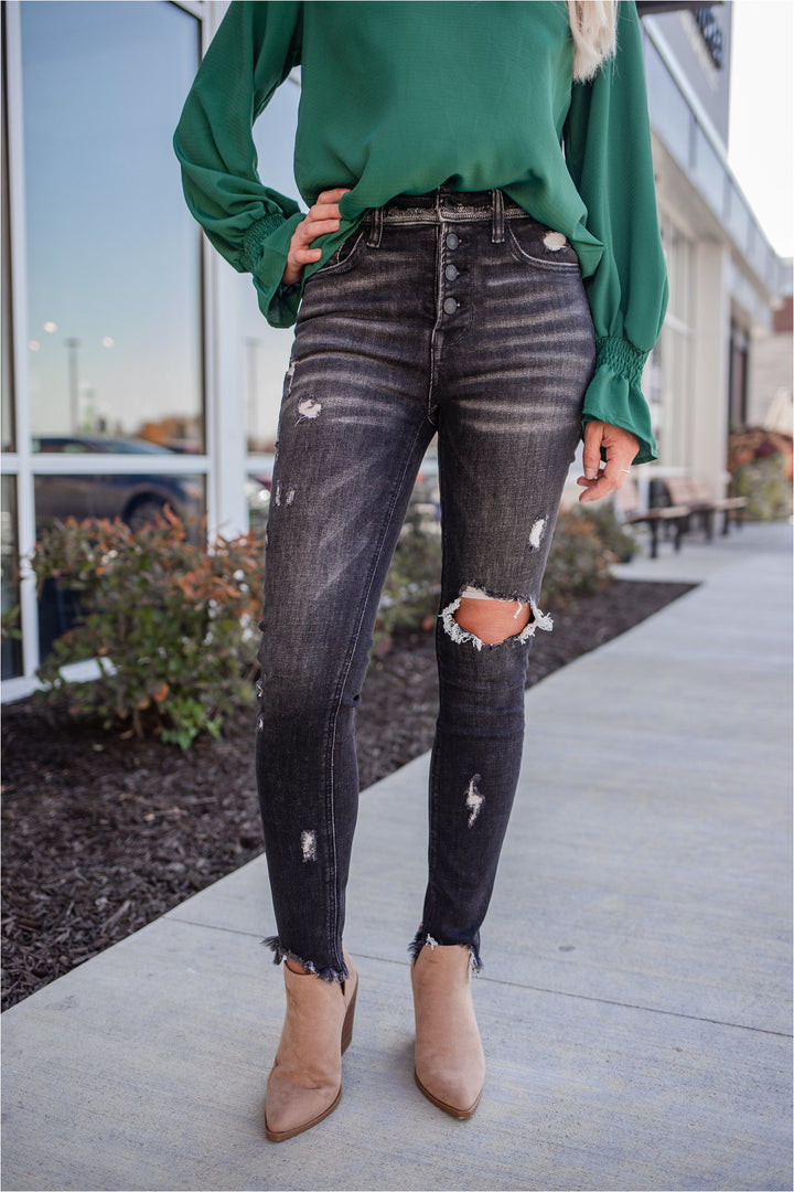 Flying Monkey Wave Black Wash Button Fly Distressed Skinny Jeans