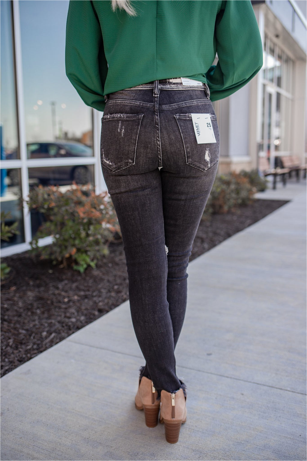 Wave Black Wash Button Fly Distressed Skinny Jean - BluePeppermint Boutique