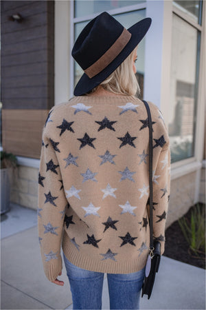 Camel Ombre Star Sweater - BluePeppermint Boutique