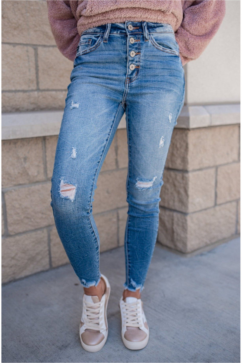 Suckerpunch High Rise Button Fly Skinny Jeans - BluePeppermint Boutique
