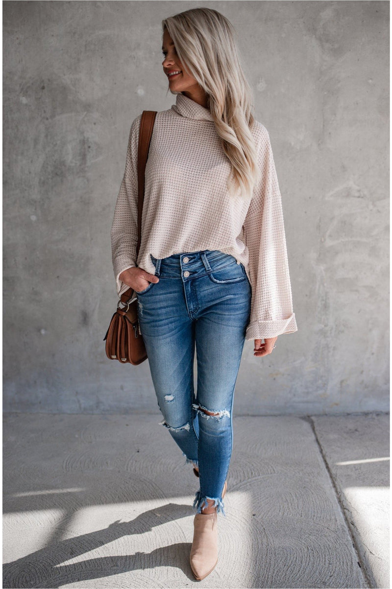 Thermal Turtleneck Top - Light Taupe - BluePeppermint Boutique