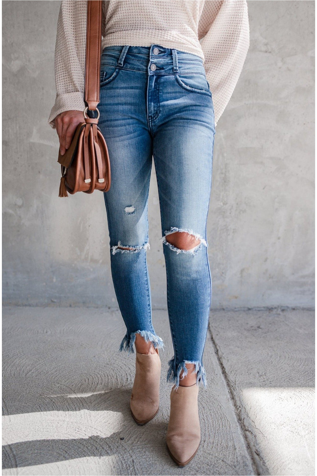 Bodhi Double Button High Rise Skinny Jeans - BluePeppermint Boutique