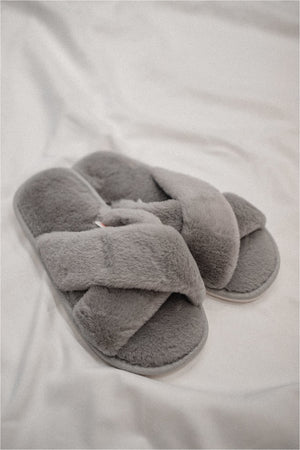 Fuzzy Cross Slippers - Grey - BluePeppermint Boutique