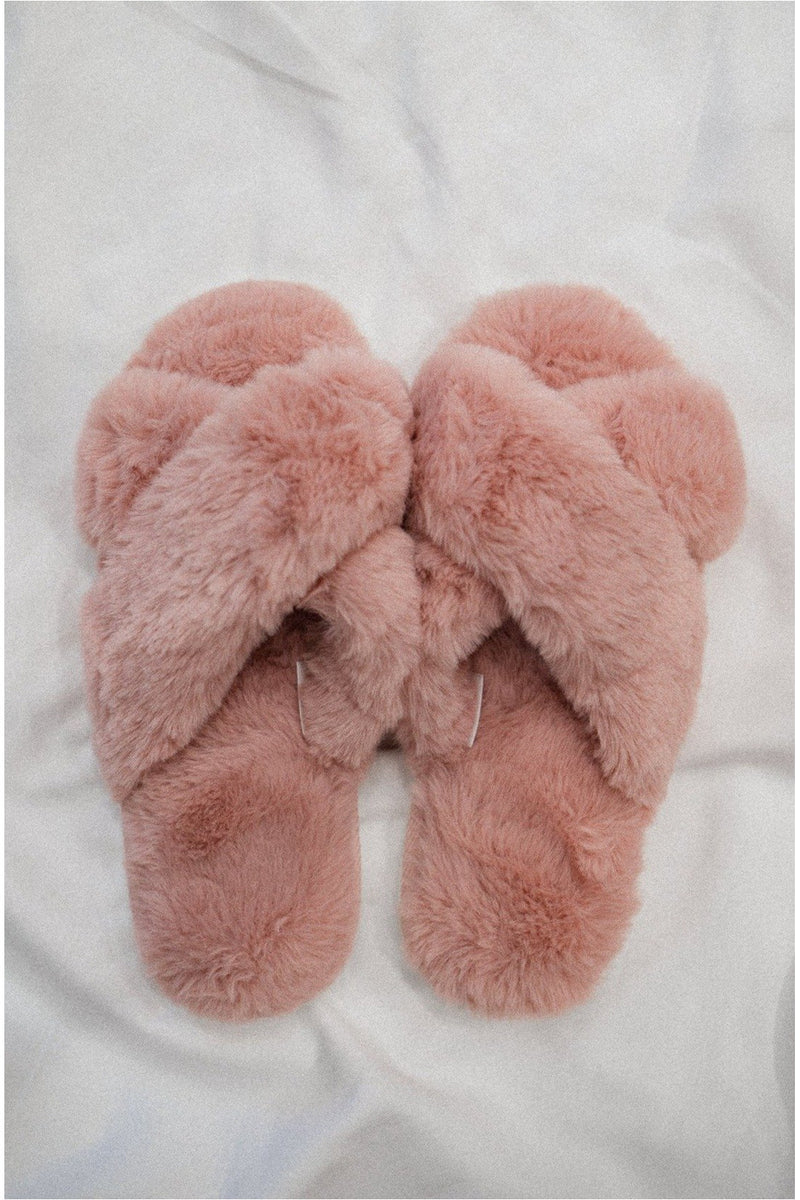 Fuzzy Cross Slippers - Pink - BluePeppermint Boutique