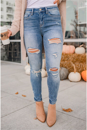 Gunfire High Rise Heavily Distressed Crop Skinny Jeans - BluePeppermint Boutique