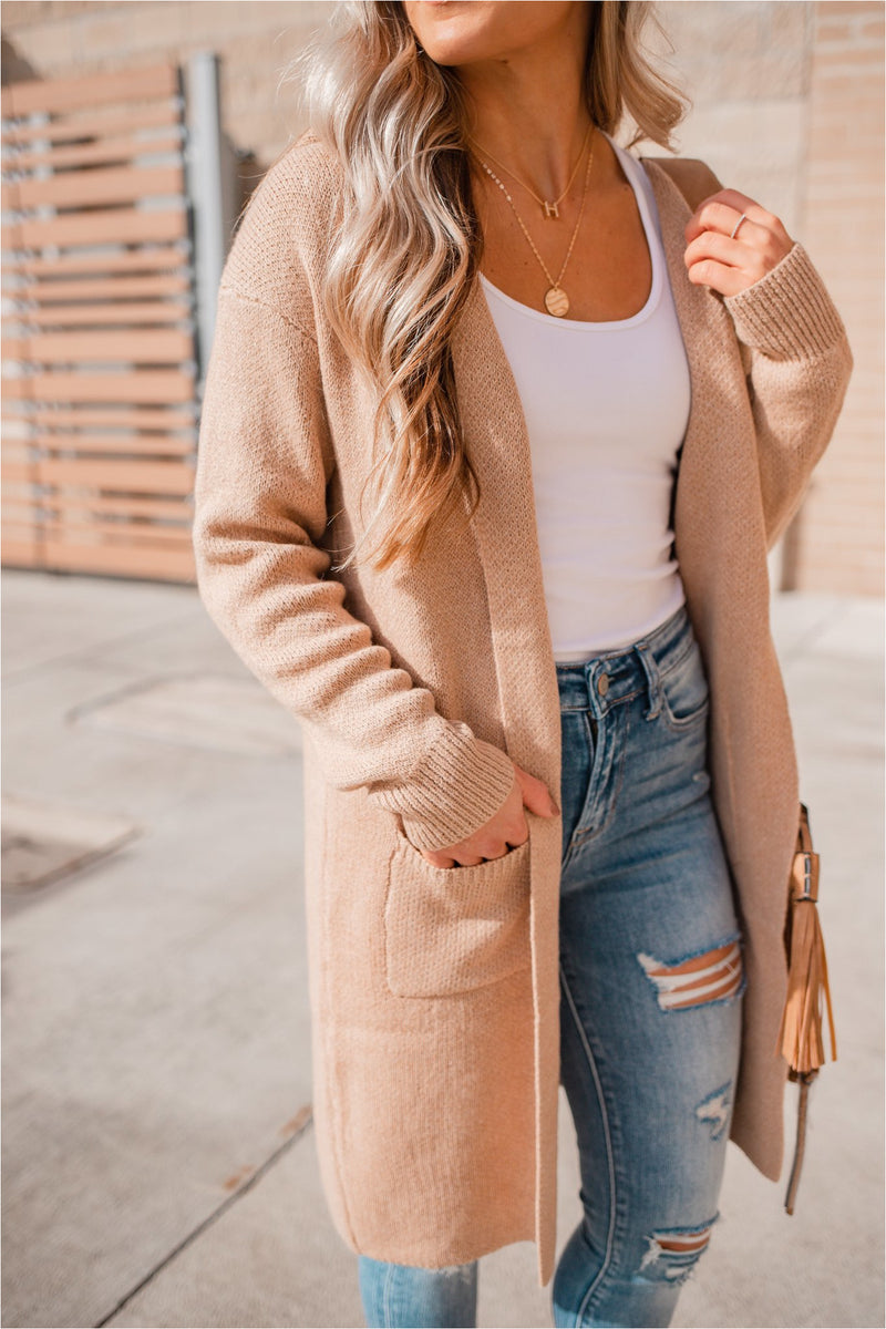 Taupe Solid Long Hooded Cardigan - BluePeppermint Boutique