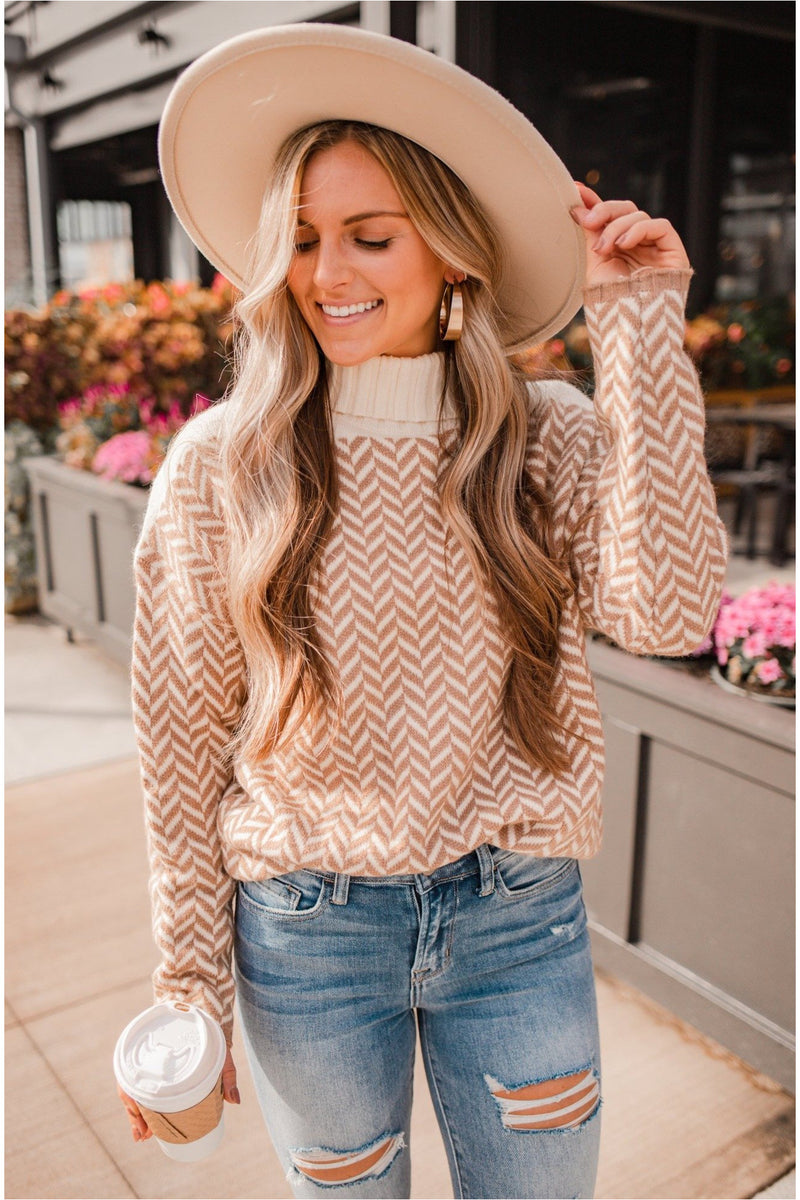Off White Mocha Chevron Knit Turtleneck Pullover - BluePeppermint Boutique