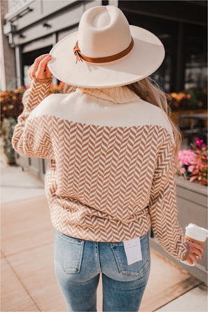 Off White Mocha Chevron Knit Turtleneck Pullover